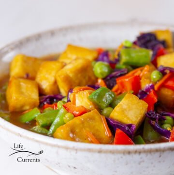 square crop of tofu and veggies in orange sauce in a white bowl.