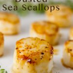 Vanilla Dusted Scallops on a white plate with chives for garnish, title included in image