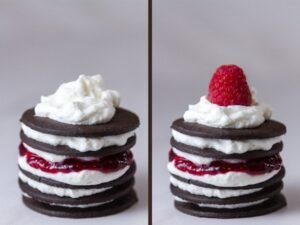Chocolate Raspberry Icebox Cakes: process shots, ending shots